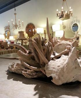 deer elk horn oyster setting table decor authentic real chandeliers wooden aden grey