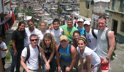 Mission team visiting the slums of La Limonada, Guatemala