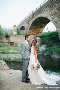 Lovely outdoor civil ceremony elopement at the Stone Arch Bridge in Minneapolis MN