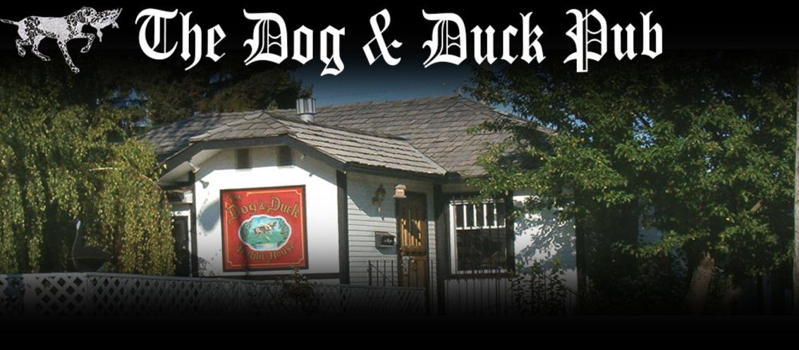 The Logo and Outside Picture of The Dog & Duck Pub and Restaurant in Calgary, located inside an Old White House, just like real British Pubs