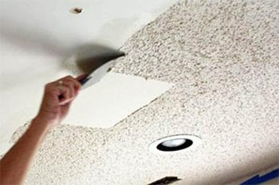 THE PROCESS OF POPCORN CEILING REMOVAL AND PAINTING USUALLY INVOLVES: