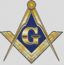 Cross Stitch Chart Pattern of Freemasons Logo in Blue and Gold