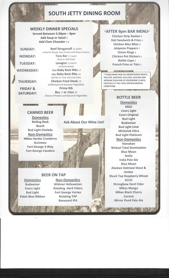 South Jetty Dining Room And Bar Weekly Dinner Specials Are Subject To Change