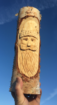 How to easily carve a Birch wood Santa Face Christmas decoration. www.DIYeasycrafts.com