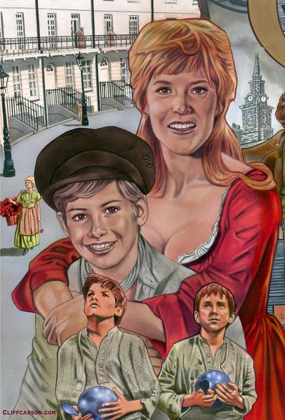 Shani Wallis and Mark Lester in Carol Reed's OLIVER! Illustration by CLIFF CARSON