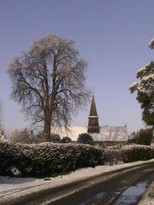 Picture of St Mary's church in the snow