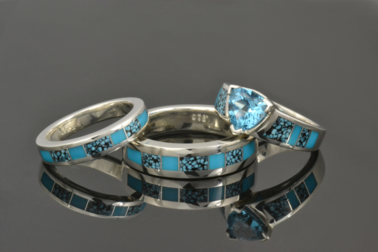 Spiderweb turquoise engagement ring and wedding ring set