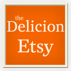 The Delicion on Etsy, for original artwork, hand-thrown ceramics, ceramic buttons, fabric market bags, block prints, and hand-carved unmounted stamps