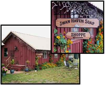 Swan Haven Soap Shop and Sign near Petaluma CA featuring all natural hand-crafted soaps and bath products