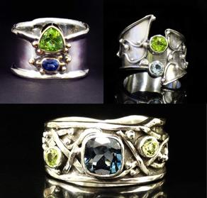 Argentium Sterling Silver rings with blue and green stones, peridot, topaz, sapphire