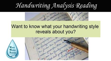 "Photo collage of a handwritten note with caption Handwriting Analysis Reading and ""Want to know what your handwriting style reveals about you?"""