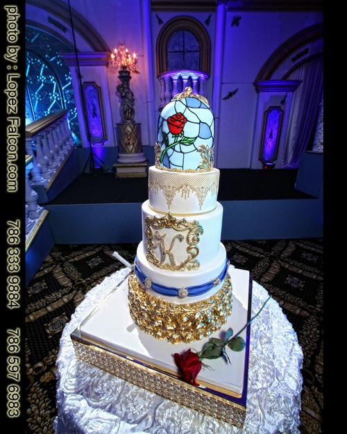 cake cakes Beauty & the beast quinceanera bella y la bestia pastel quinces bakery miami