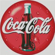 Cross Stitch Chart Pattern of Coca Cola Button Design