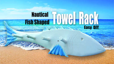 How to make a beach decor fish shaped towel rack. www.DIYeasycrafts.com