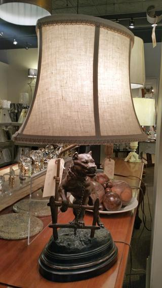 Antique Bronze statue table lamp of Bull Mastiff Dog on wooden, dark stained base with a custom bespoke linen shade with trim