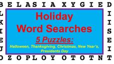 Five Holiday Word Search Package