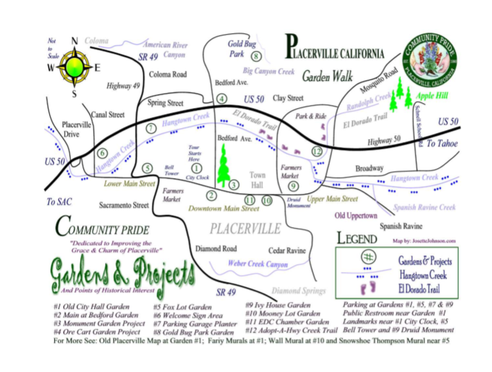 Garden Walk Map by Josette Johnson http://www.josettejohnson.com Placerville Garden Walk Community Pride Volunteers Archives