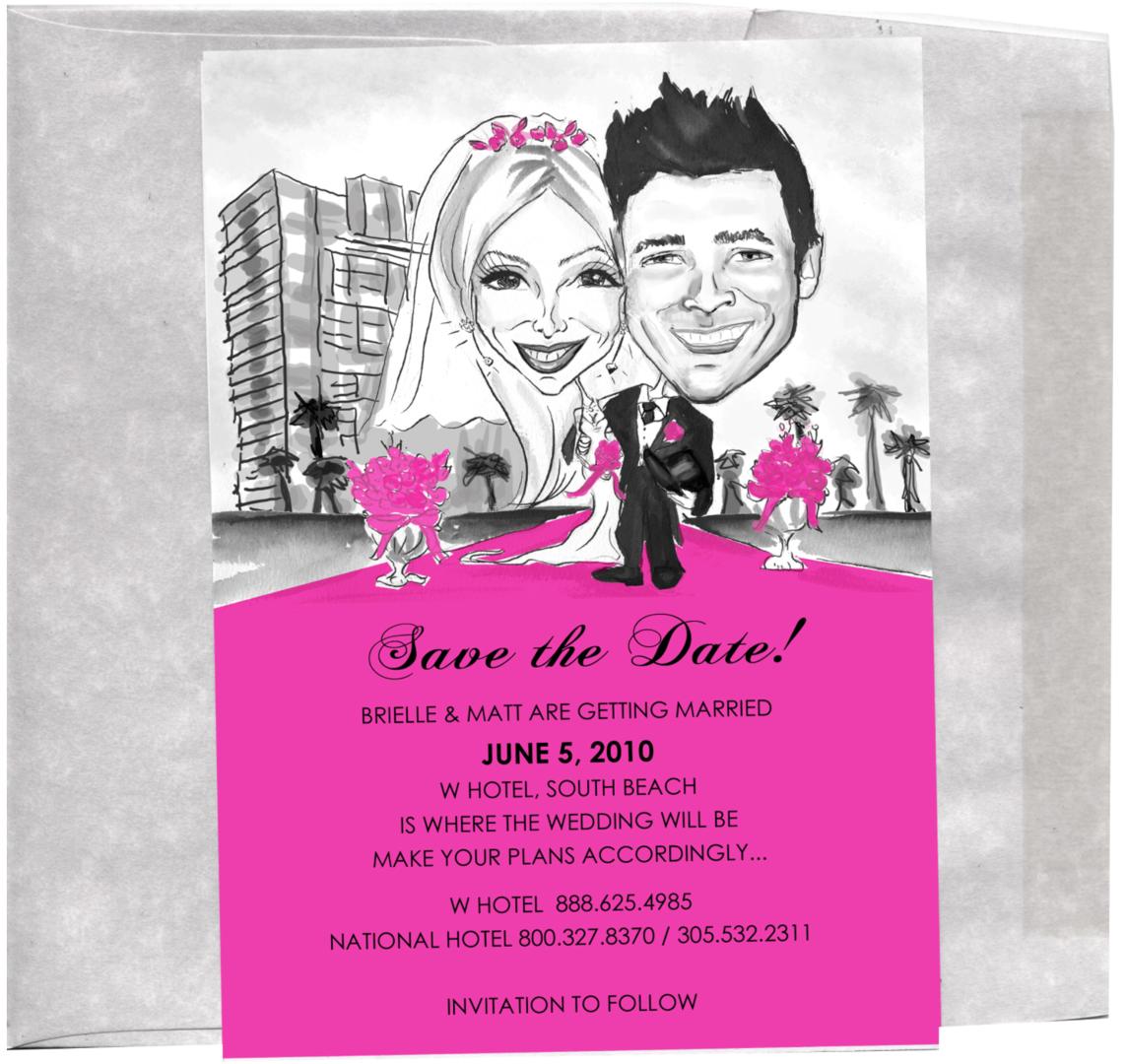 Unique custom caricature wedding bridal party invitations custom httpstwitternysketches filmwisefo Images