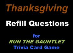 Thanksgiving trivia cards for RUN THE GAUNTLET game
