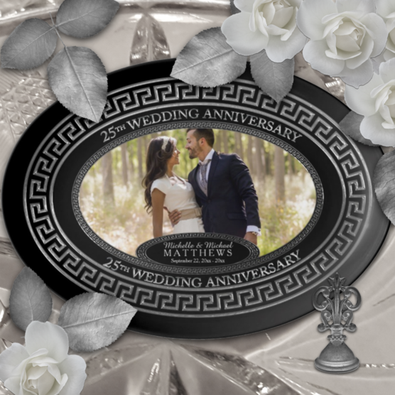 Silver tone and black 25th wedding anniversary custom designed photo porcelain keepsake platter which can be personalized with your names and wedding and anniversary date