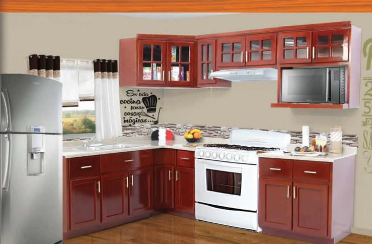 Cocina integral modelo ceci color caoba for Gabinetes cocina integral