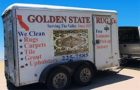 Trailer with equipment for rug cleaning in Fresno, CA