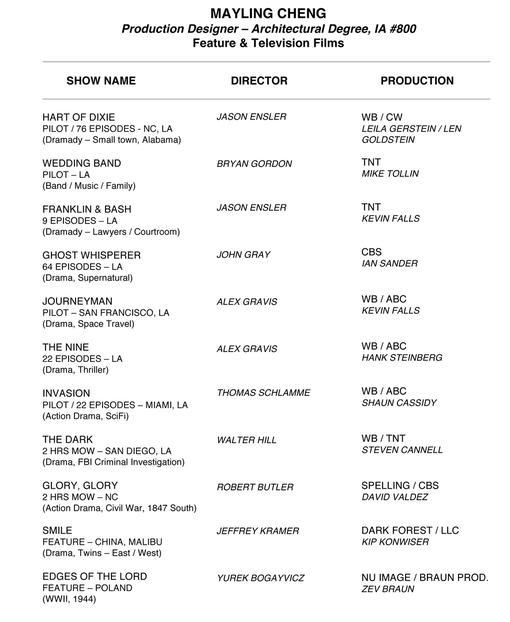 mayling cheng production designer resume
