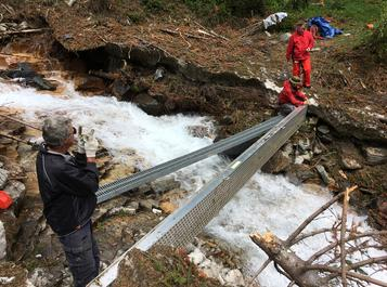 Putting in bridge at Lake of the Hanging Glacier
