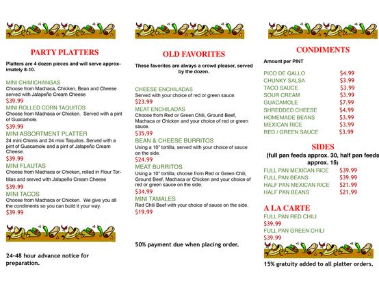 Mi Familia Mexican Food Menu