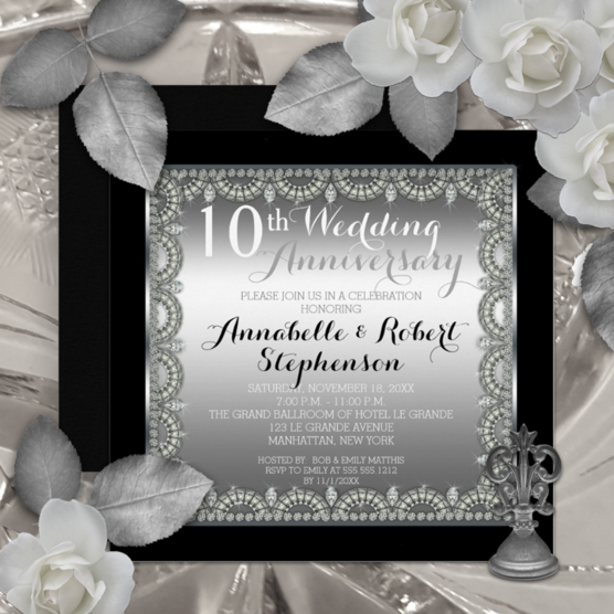 Faux scalloped diamond framing a silver gradient background 10th wedding anniversary invitations framed within a black background