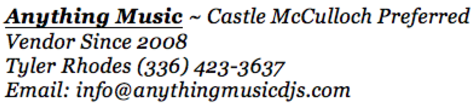 Anything Music ~ Preferred Vendor Castle McCulloch