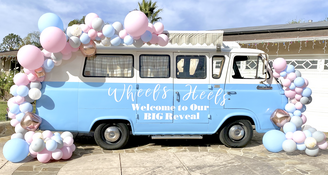 Gender reveal welcome sign wheels or heels balloon garland backdrop vintage van los angeles