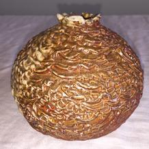 Pomegranate sphere by Janice Hill Pottery, hand-thrown, wood-fired stoneware ceramics.