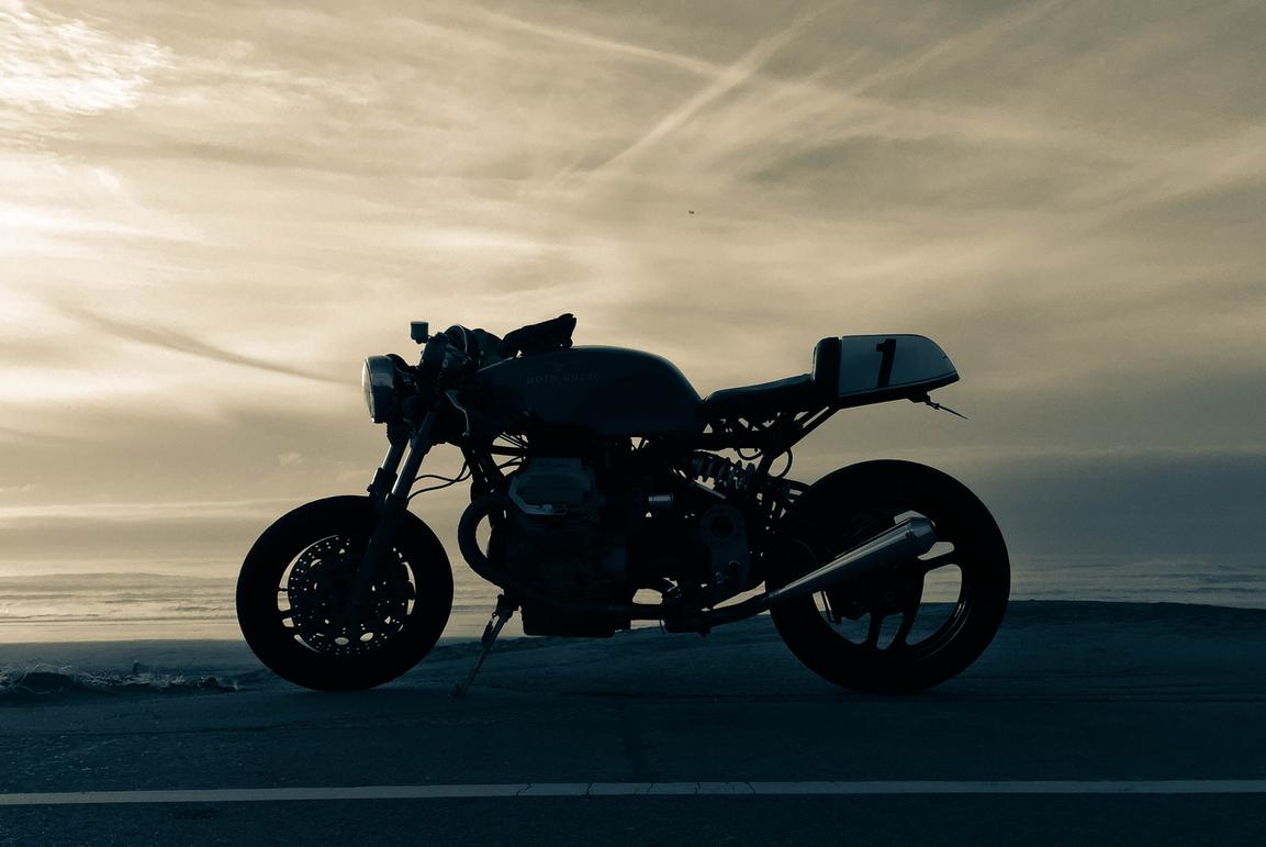 pacific coast highway cafe racer sunset