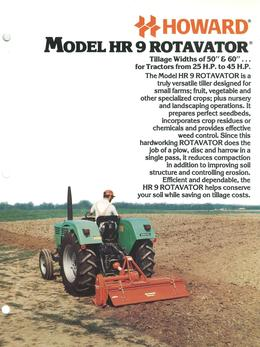 Howard Rotavator Model HR9 Brochure