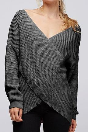 Charcoal Crossover Knit Sweater