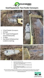"2 Each Feeder Conveyors 24"" Belt 9'4"" long including guard around head pulley 3' Wide Has Motor & Reducer but unable to read tag"