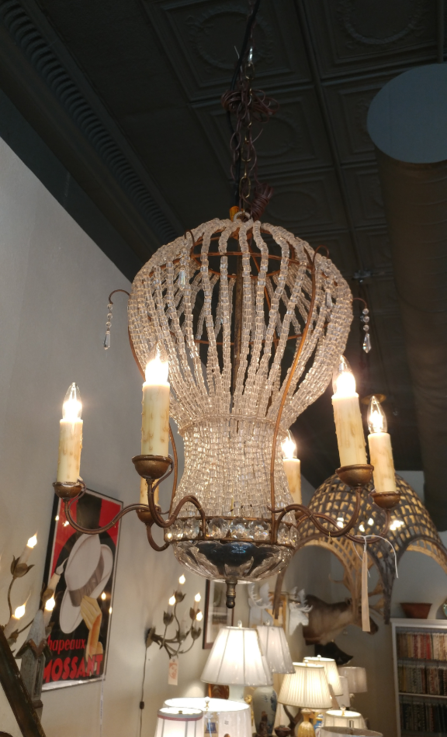 Antique vintage French Crystal Balloon chandelier for sale 6 arms from the House of Tuscany