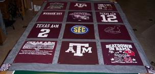College sports t-shirt blanket