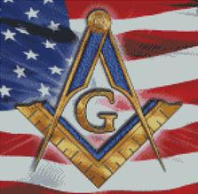 Cross Stitch Chart Pattern of Freemasons Logo on US Flag