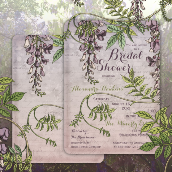 Wistfully romantic vintage wisteria bridal shower rounded edge two-sided invitations