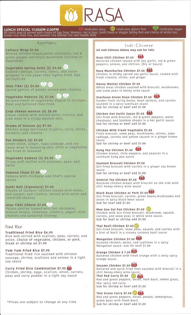 indian Restaurants, Chinese Food - Rasa Indi-chinese