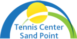 Tennis Center Sand Point logo with blue and green arches and a yellow circle
