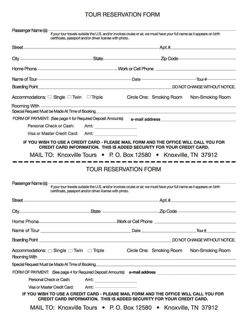Reserve – Tour Reservation Form