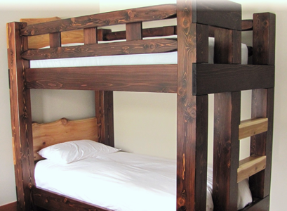 Log bunk beds and timber bunk beds by Deep Forest furnishings