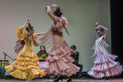 Flamenco guitarist Leah accompanies the Latin Ballet in November 2016
