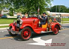 1928 Model A Ford - originally serving as a brush truck, it was later used in the 1950's by the FASNY Firemen's Home as a utility vehicle before being returned to the department in the 1960's. It was then restored to the prisitine condition