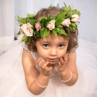 Flower Girl with Floral Head Piece