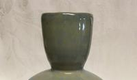 Green glazed bottle by Janice Hill Pottery, hand-thrown, hand-glazed porcelain ceramics.