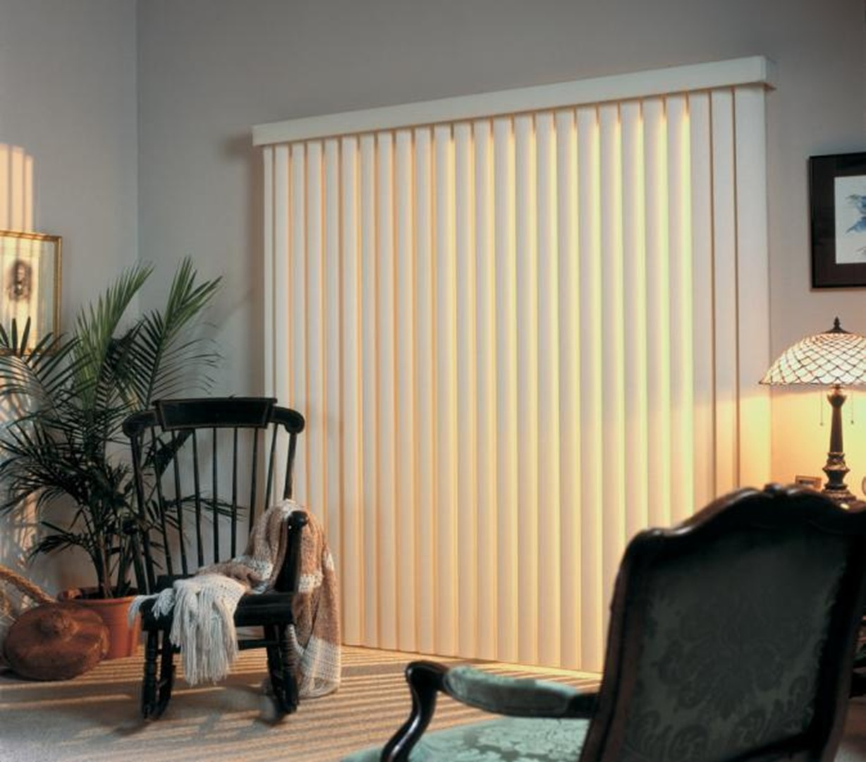 Apartment sliding door curtains - Ez Glide Vertical Blinds For Apartments Or Home Bought By Contractor With Rocking Chair